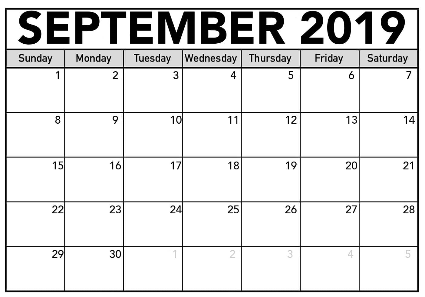Printable September 2019 Calendar Word
