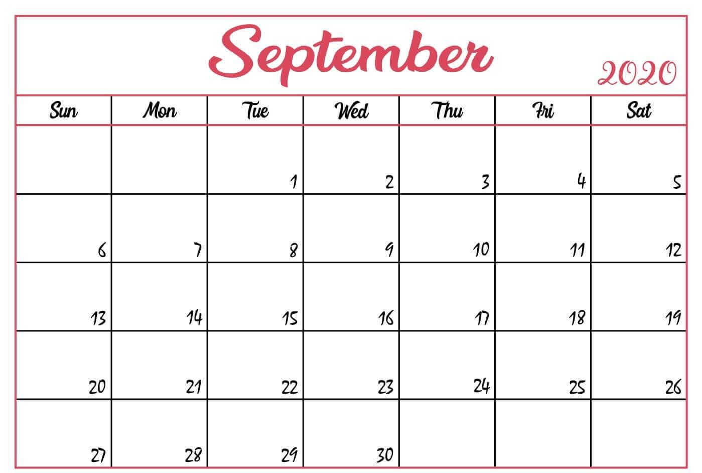 Printable September 2020 Calendar Template