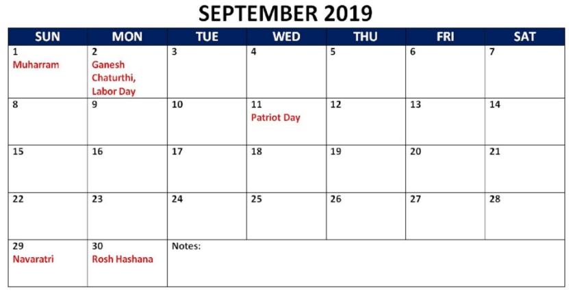 September 2019 Calendar India Holidays