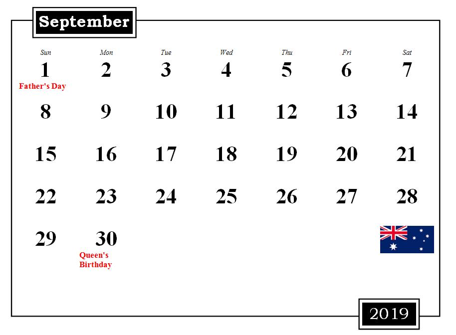 September 2019 Australia Calendar with Holidays