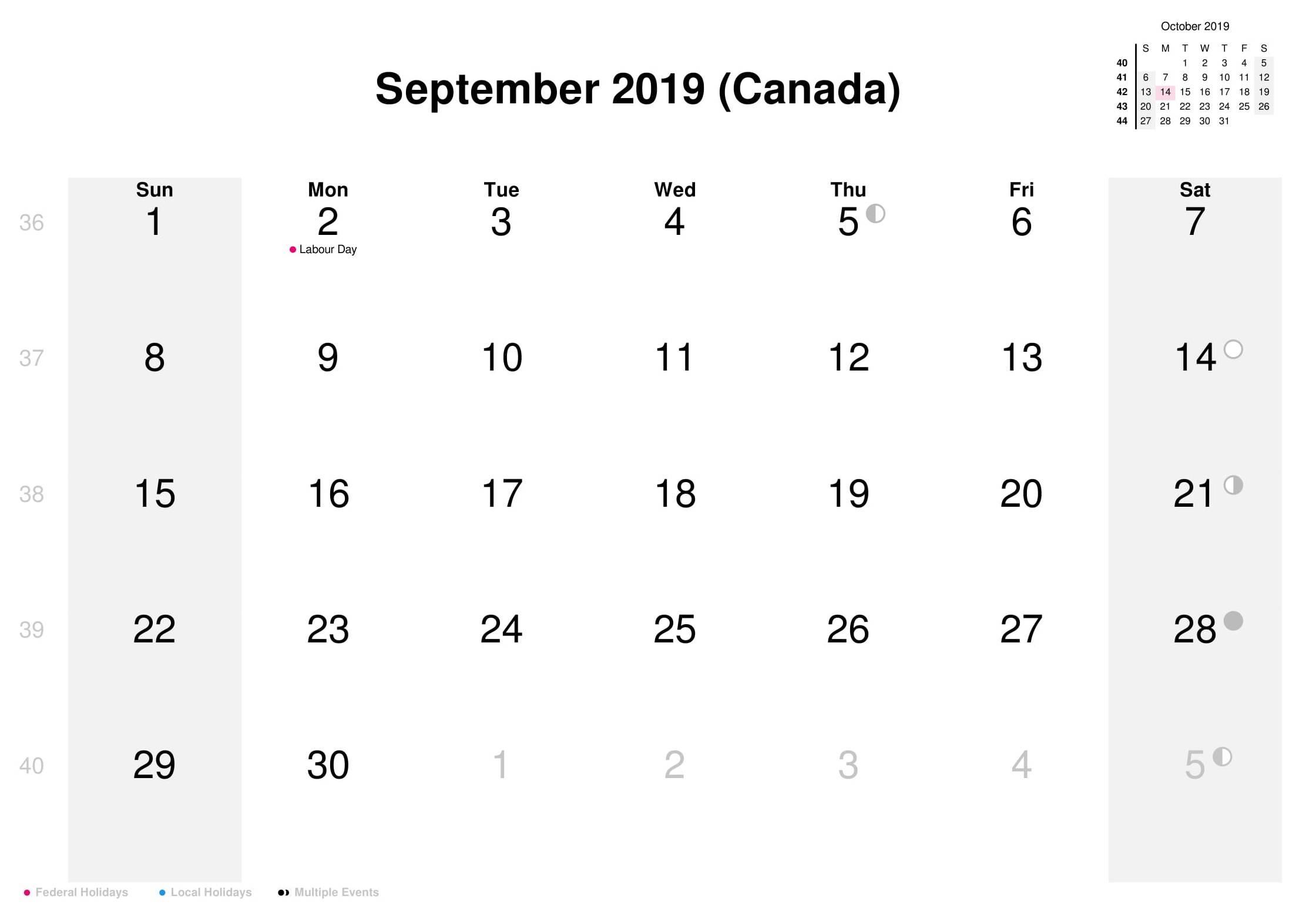 September 2019 Calendar Canada Bank Holidays