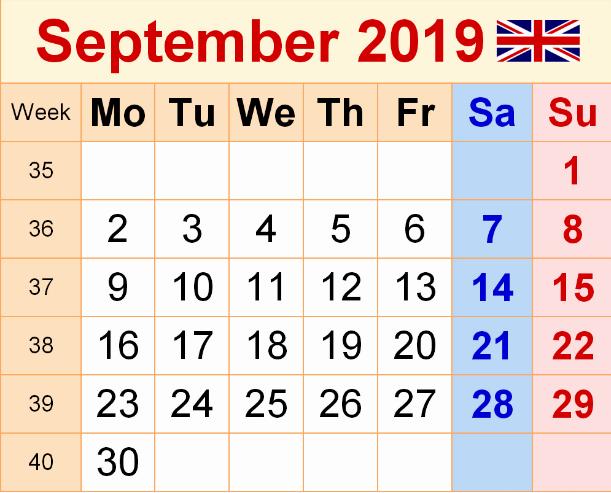 September 2019 Calendar UK