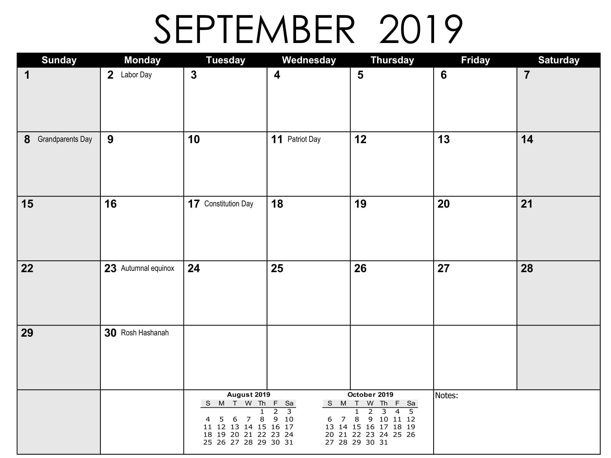 September 2019 Calendar US School Holidays