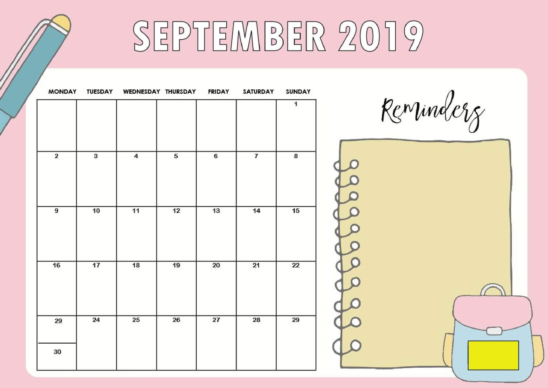 picture about Cute Calendars identify Floral Lovely September 2019 Calendar Printable Template