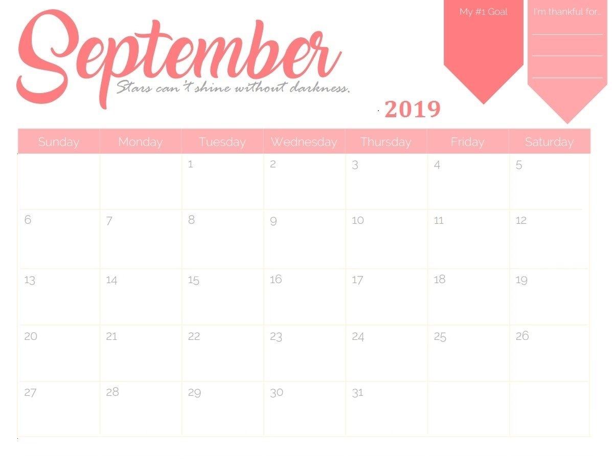 September 2019 Goal Planner Calendar
