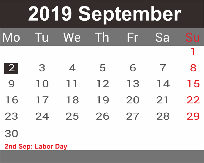 September 2019 Holidays Calendar Template