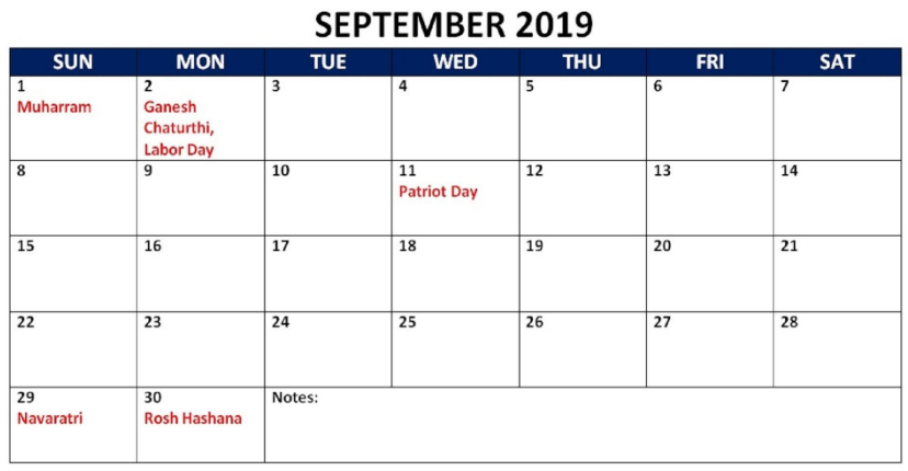 September 2019 Holidays Calendar
