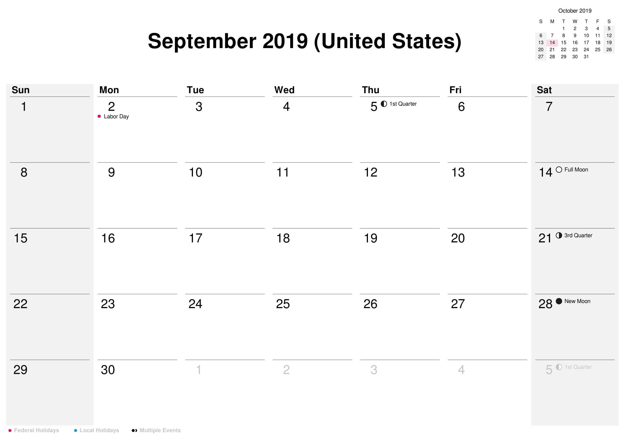 Us Calendar 2019.September 2019 Holidays Calendar Usa Uk Canada India Australia
