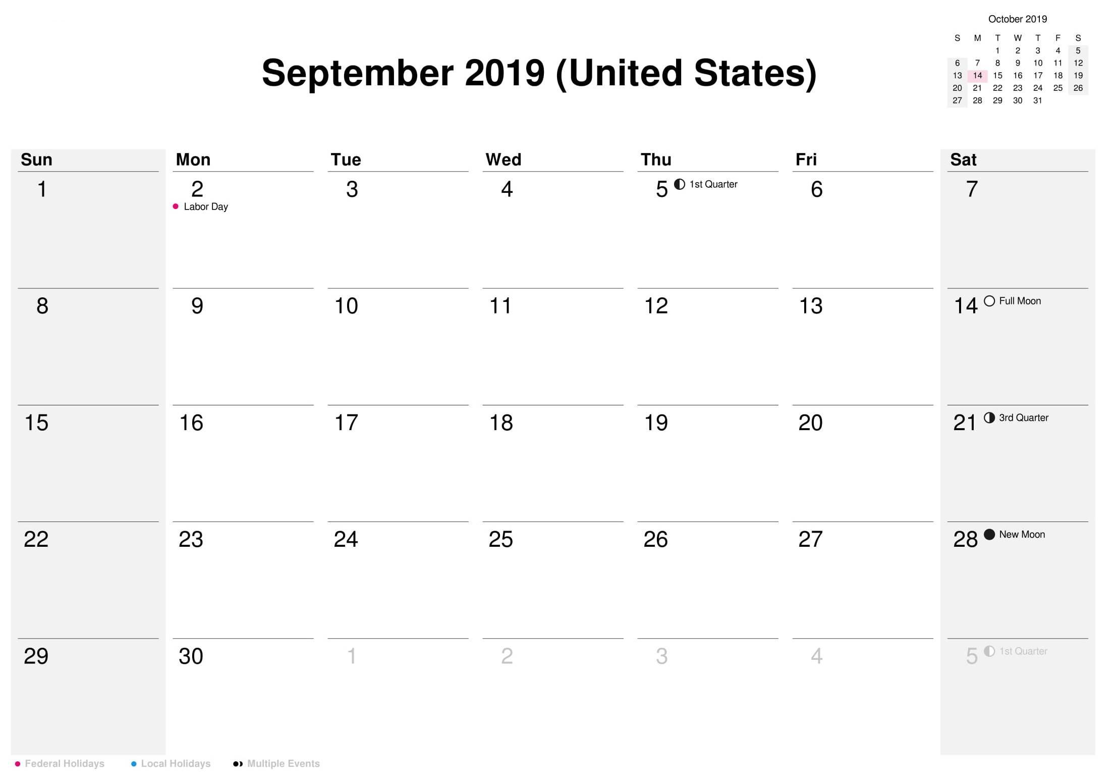 September 2019 US Calendar With Holidays