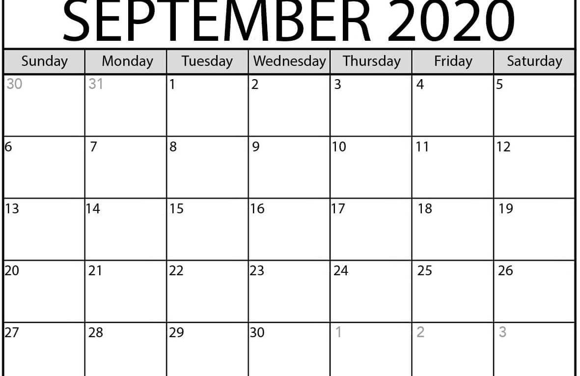 September 2020 Blank Printable Calendar