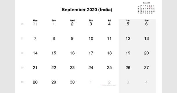 September 2020 Calendar with India Holidays