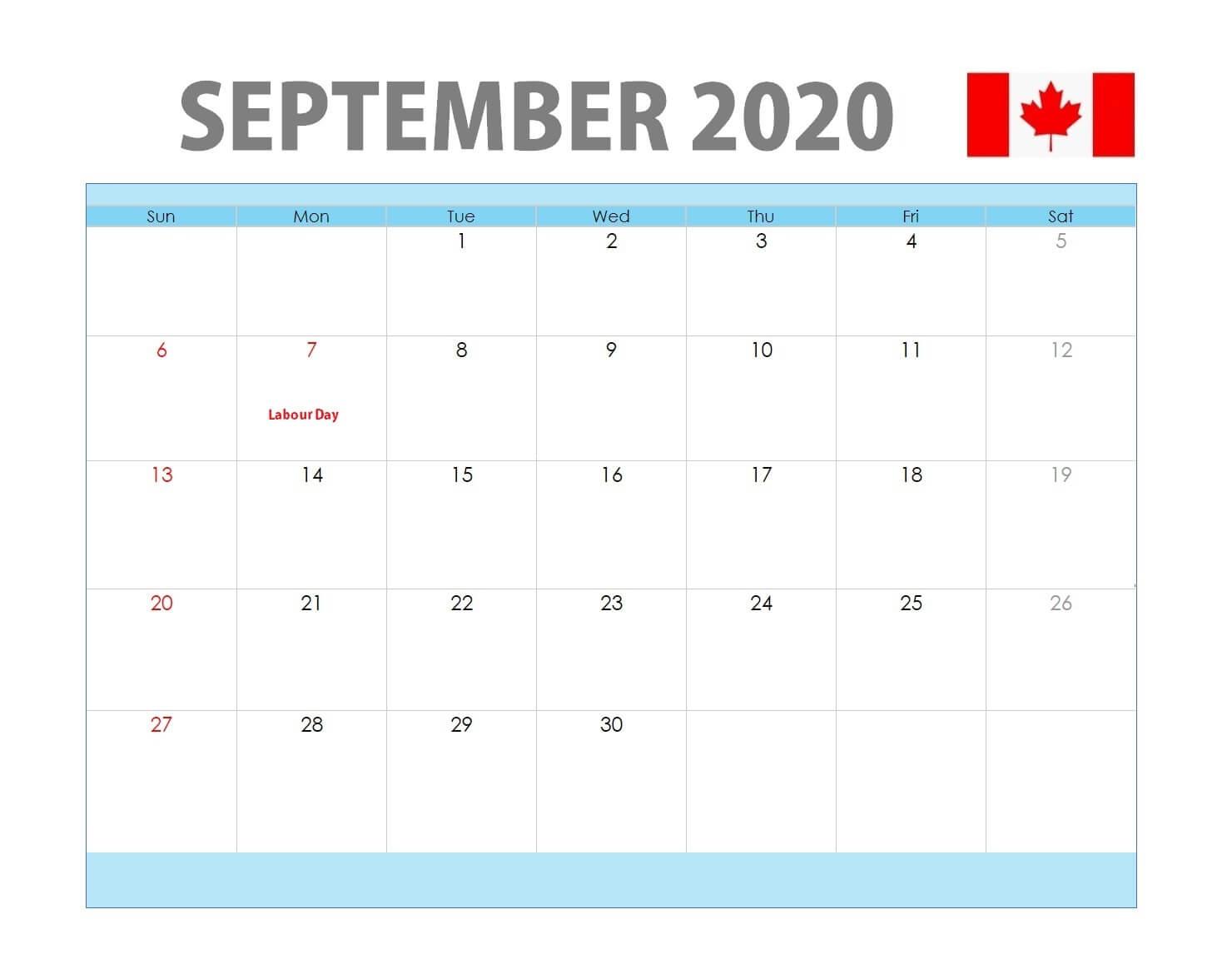 September 2020 Canada Holidays Calendar