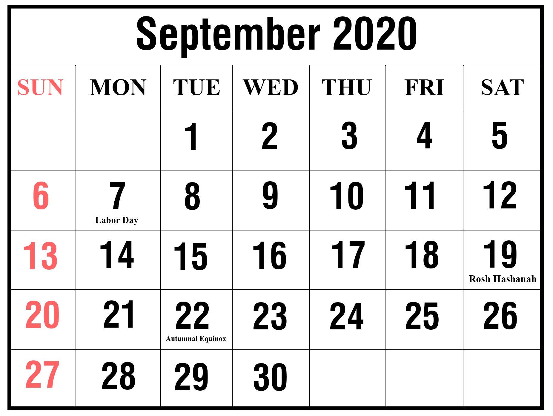 September 2020 Holidays Calendar