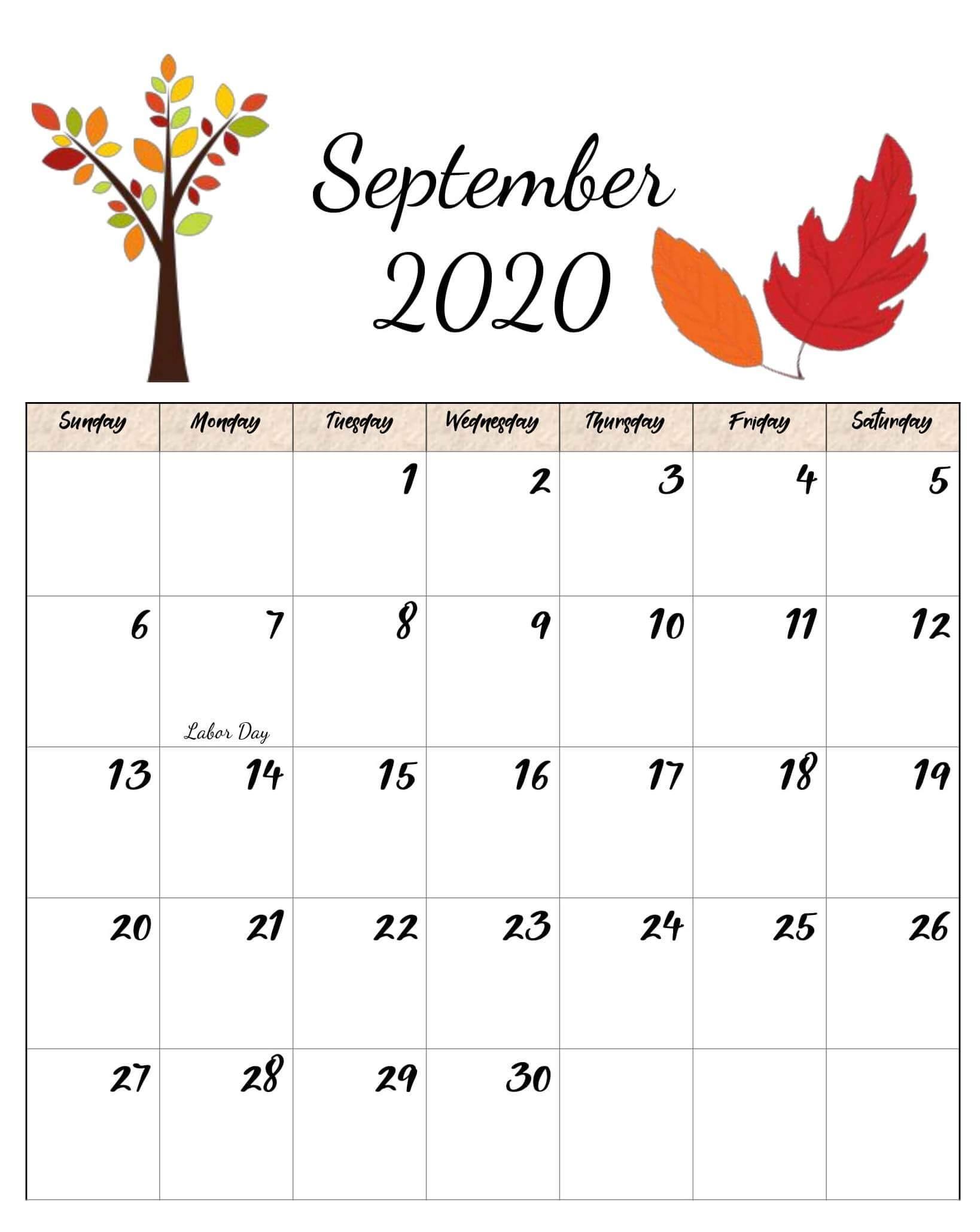 September 2020 Printable Calendar Cute