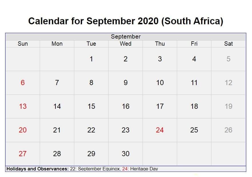 September 2020 South Africa Holidays Calendar