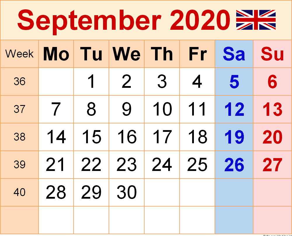 September 2020 UK Holidays Calendar