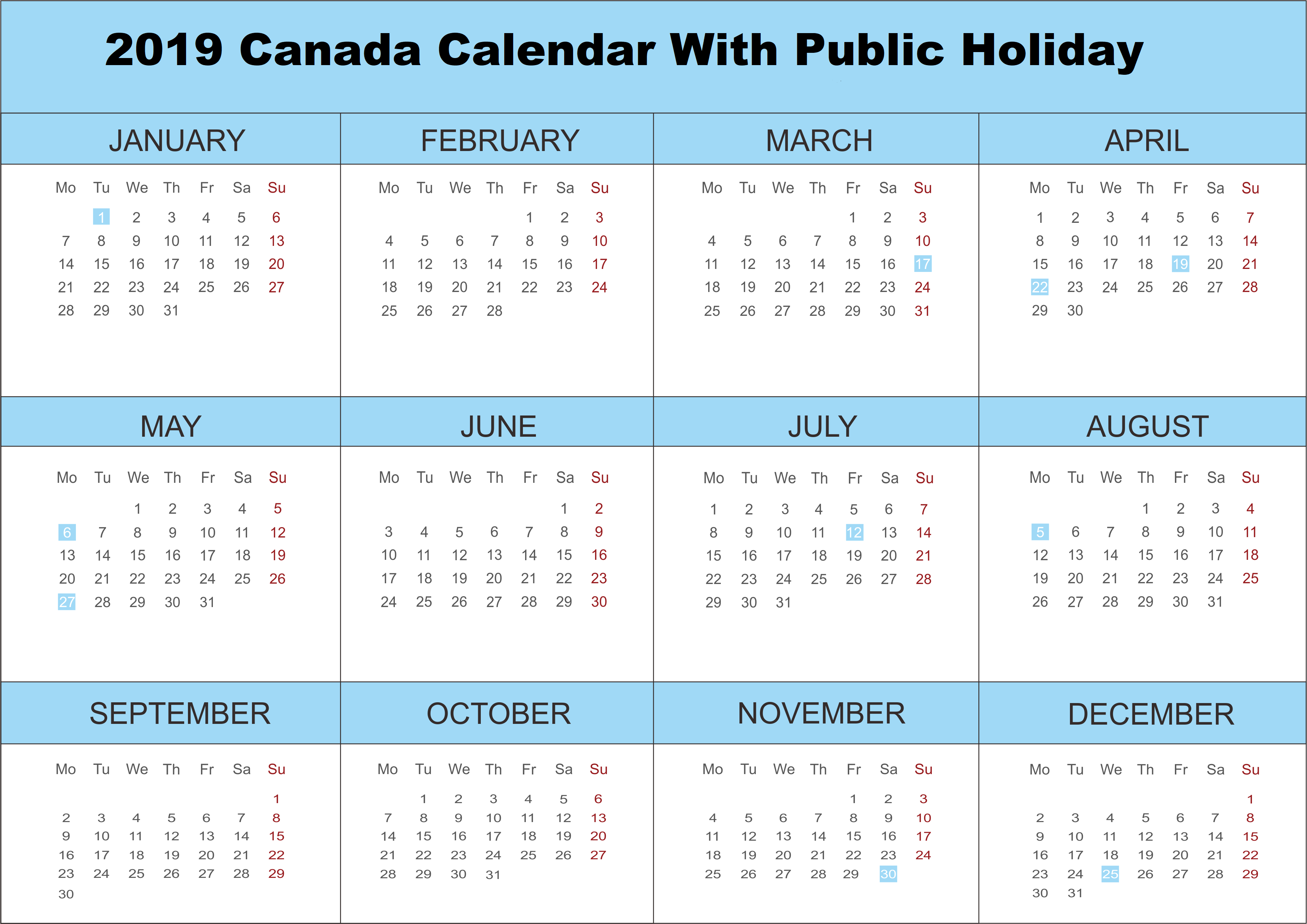2019 Canada Calendar With Public Holidays