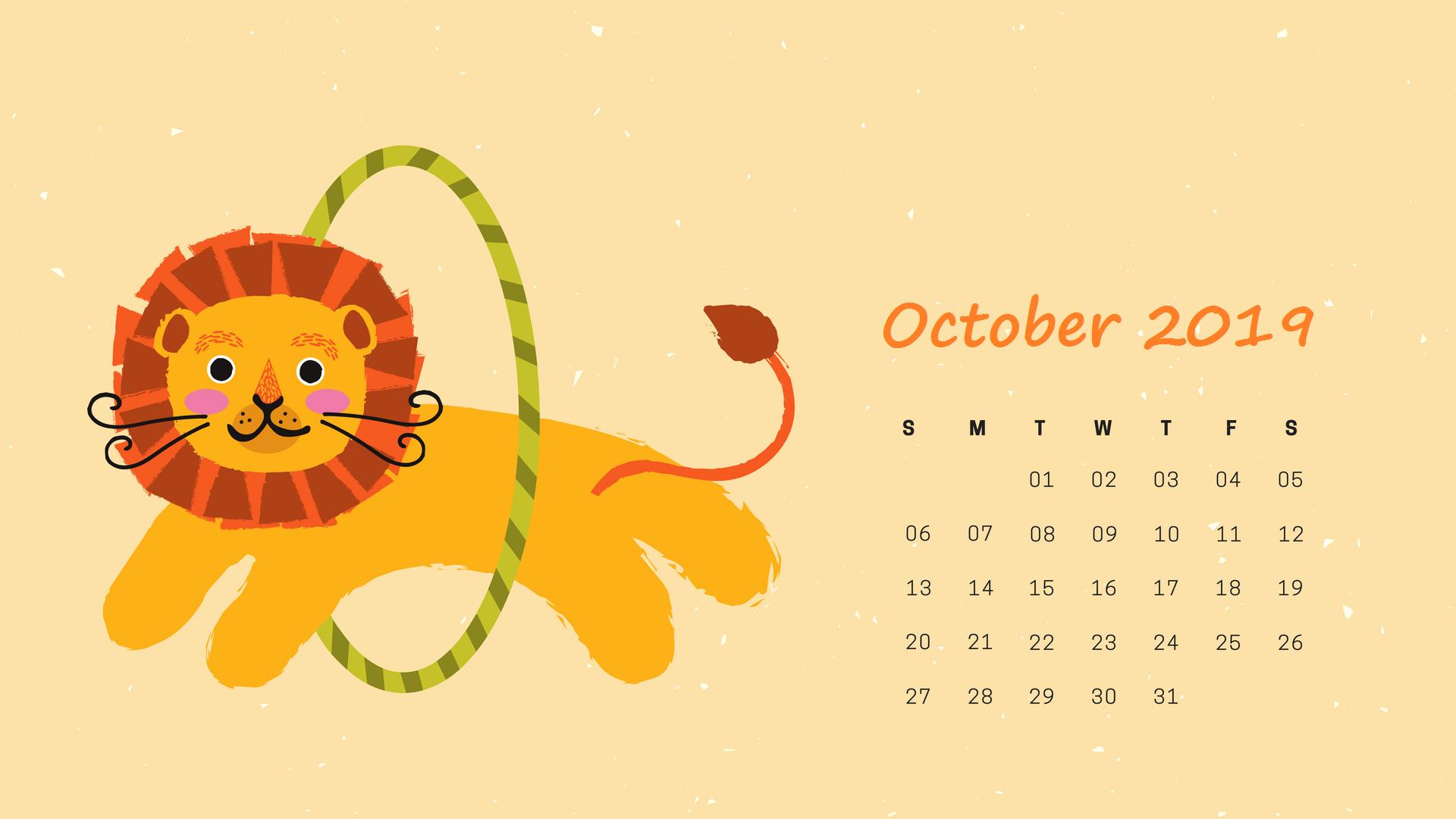2019 October HD Calendar Wallpaper