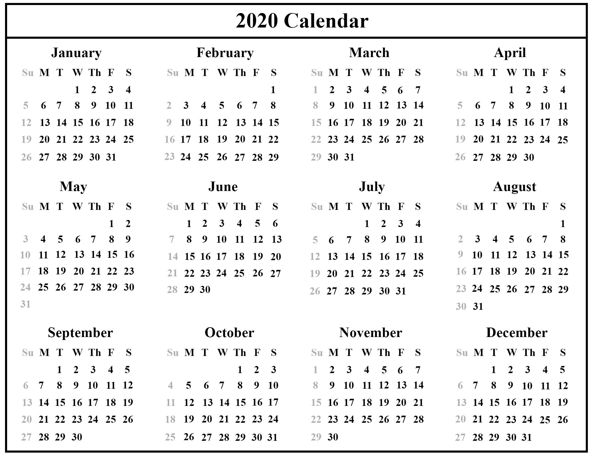 2020 Printable Calendar Template PDF