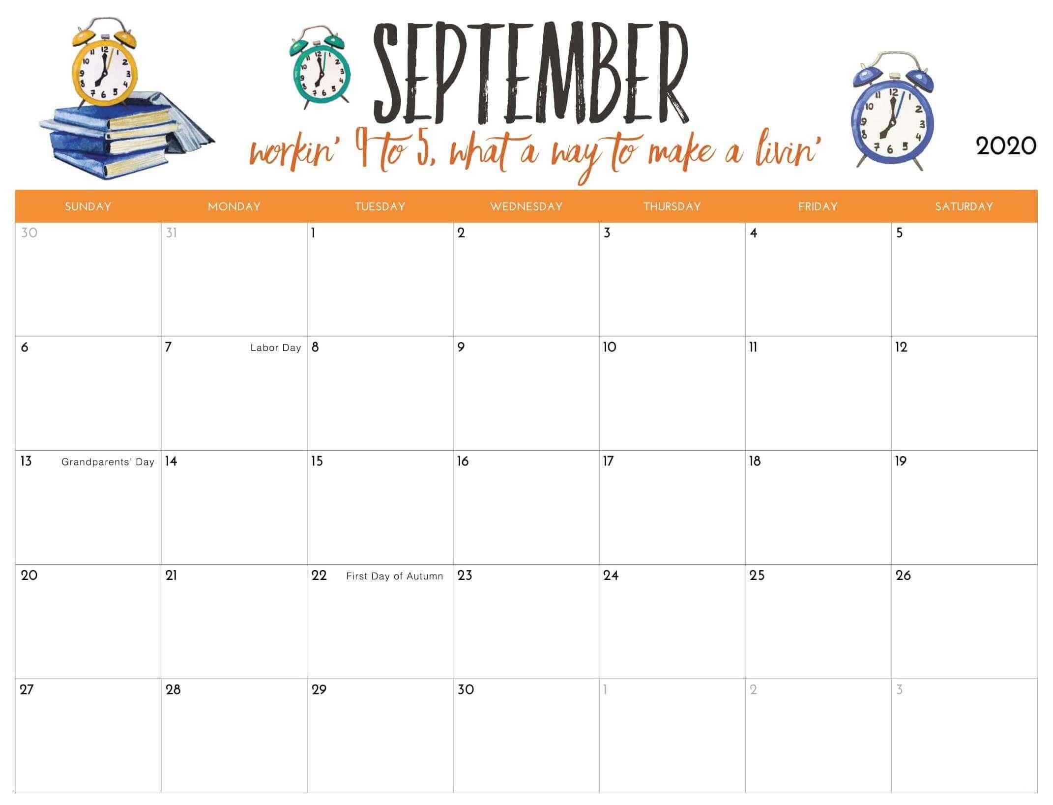 2020 September Calendar With Holidays