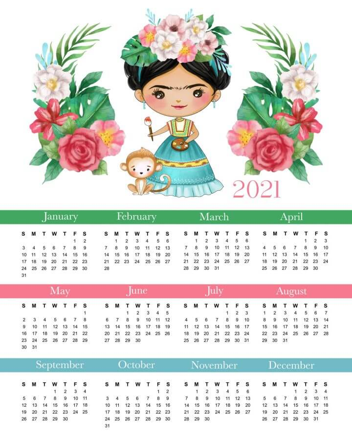 2021 Floral Yearly Printable Calendar
