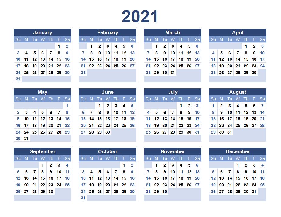 2021 Printable Blank Calendar Template