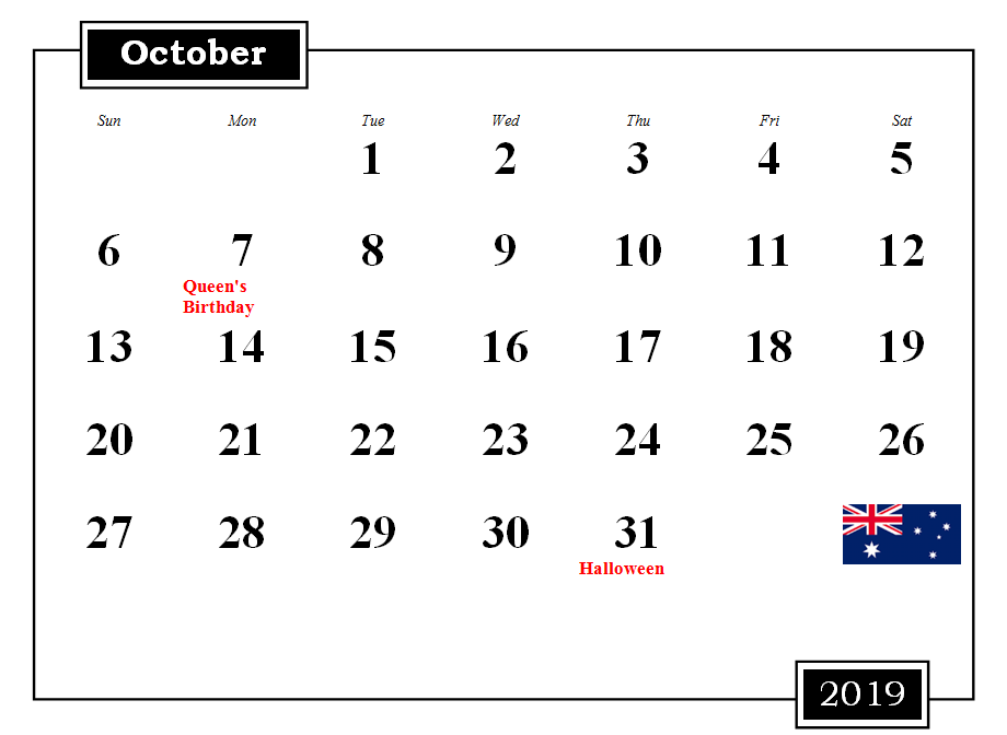 Australia Holidays Calendar October 2019