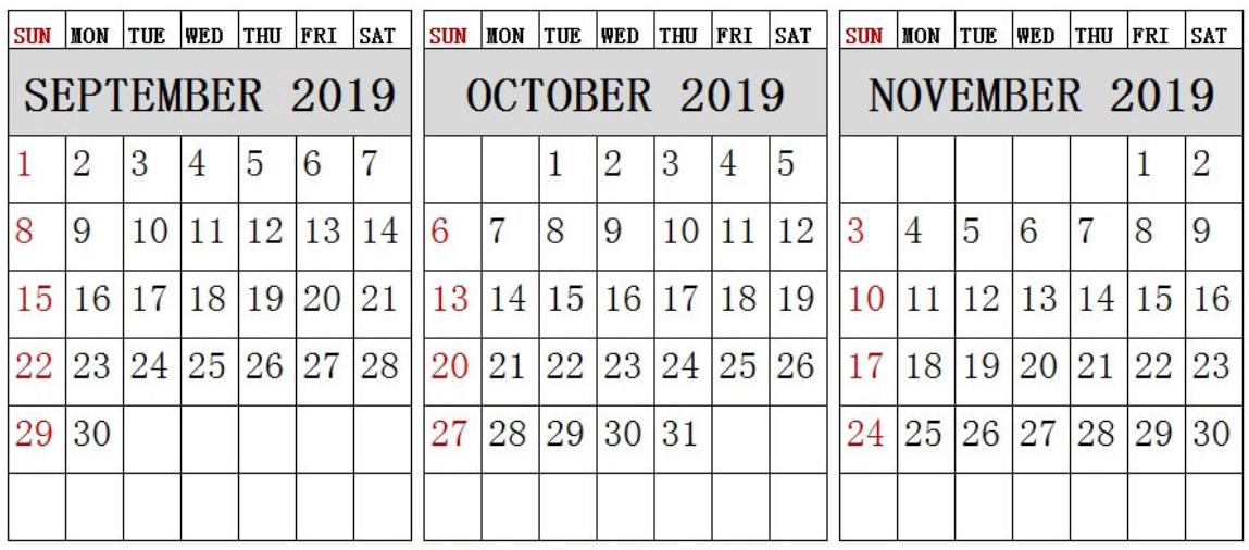 Blank September October November 2019 Calendar