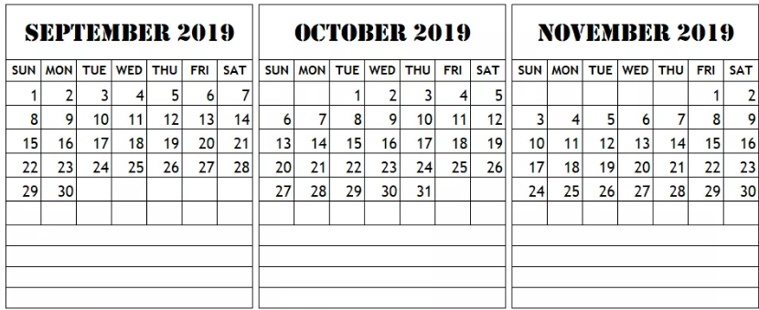 Calendar September October November 2019