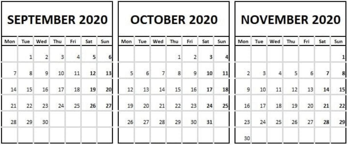 Calendar September October November 2020