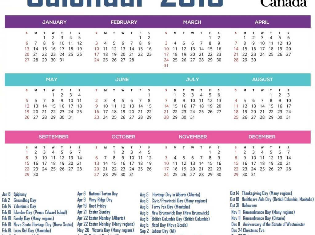 Calendar for Canada 2019