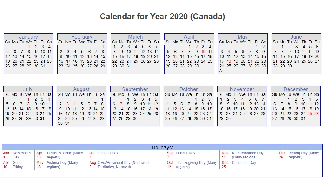 Canada 2020 Calendar with Holidays