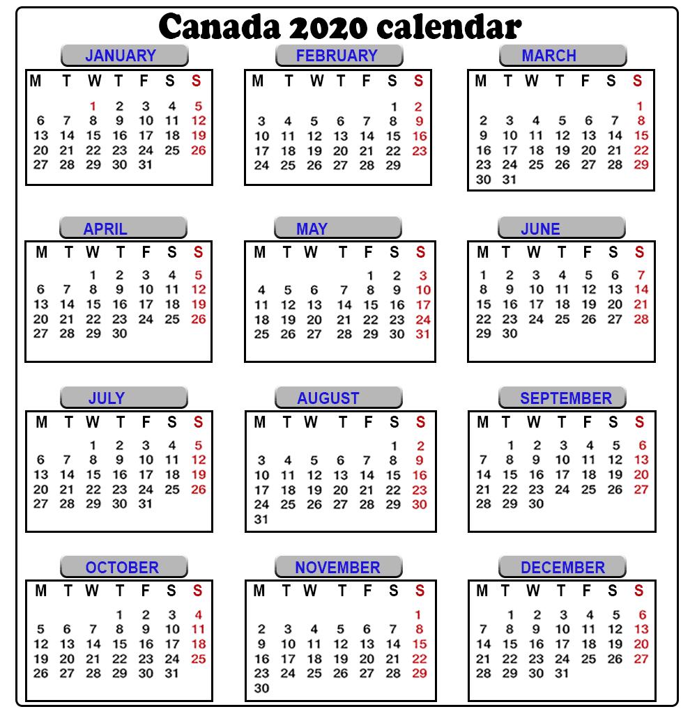 Canada 2020 Calendar