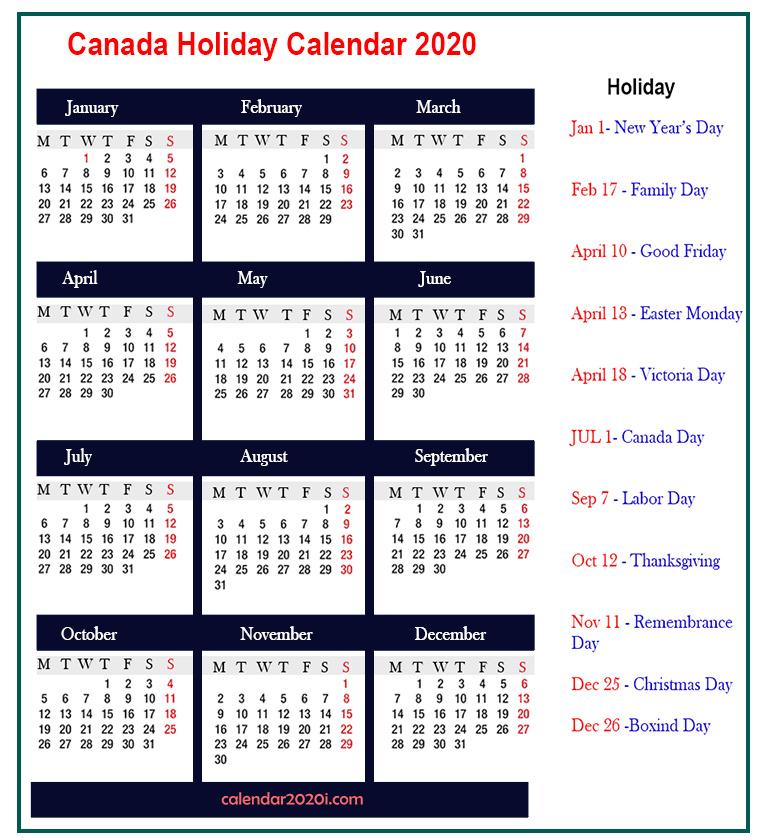 Canada Holidays Calendar 2020