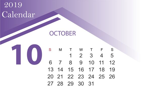 Cute October 2019 Calendar Desktop Wallpaper