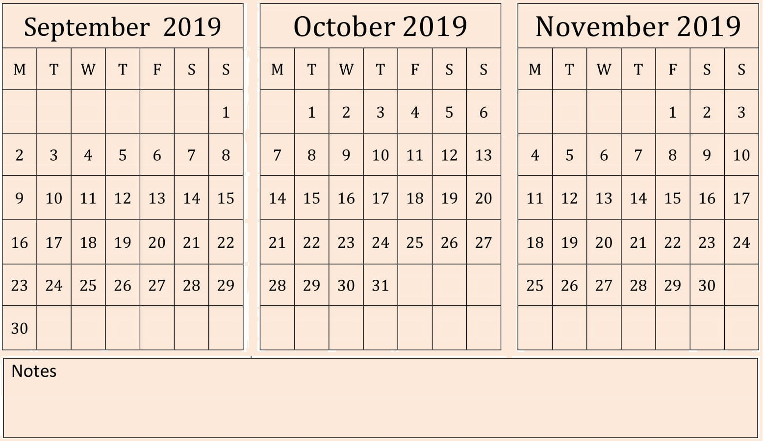 Editable September October November Calendar 2019