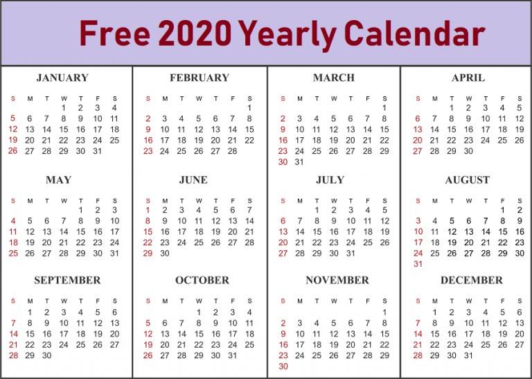 Free 2020 Yearly Calendar