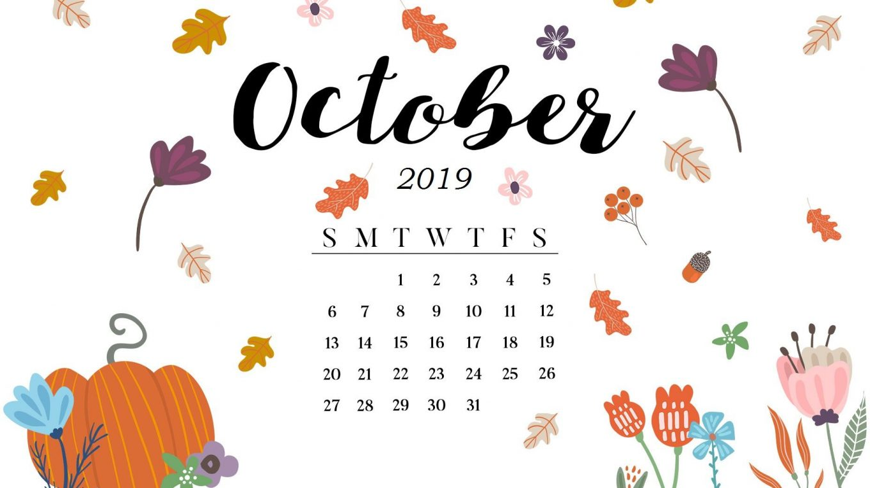 October 2019 Calendar Desktop Wallpaper