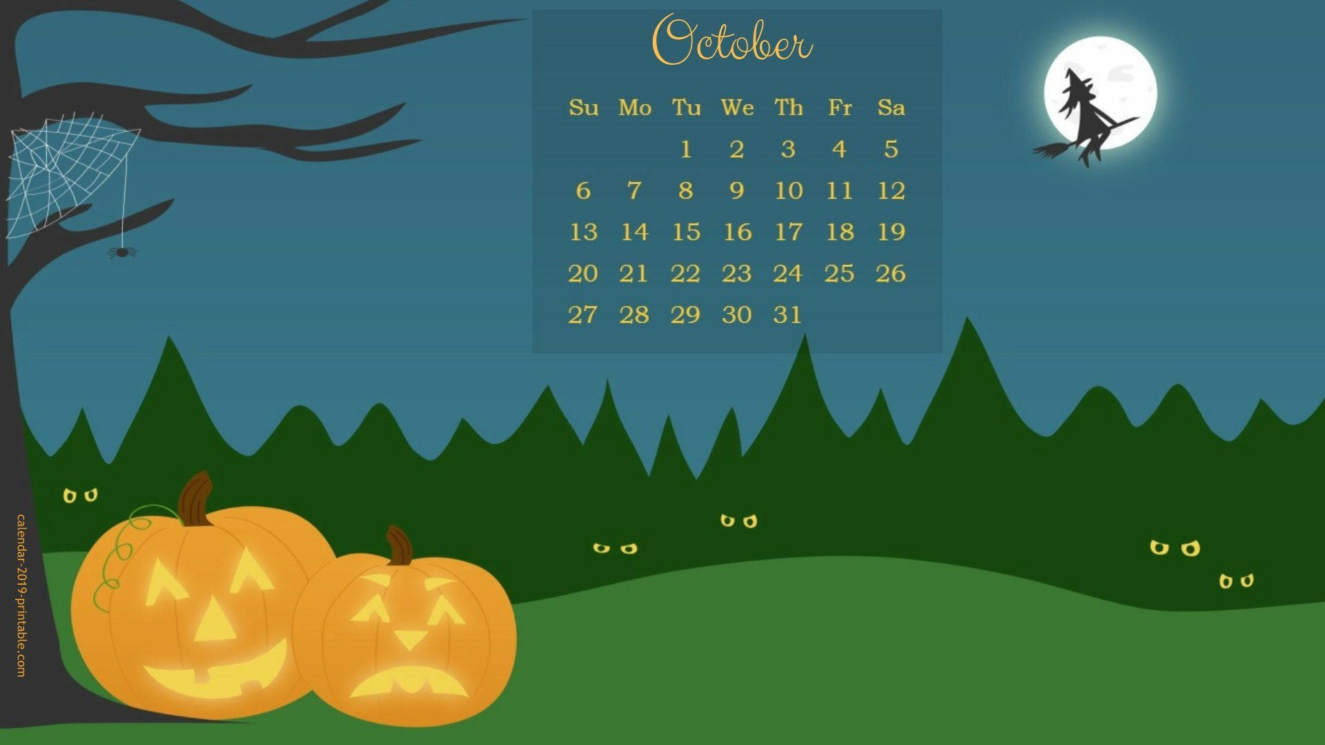 October 2019 Calendar Halloween Wallpaper
