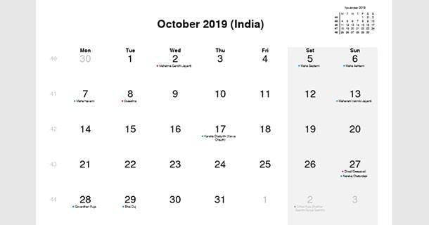 October 2019 Calendar with India Holidays