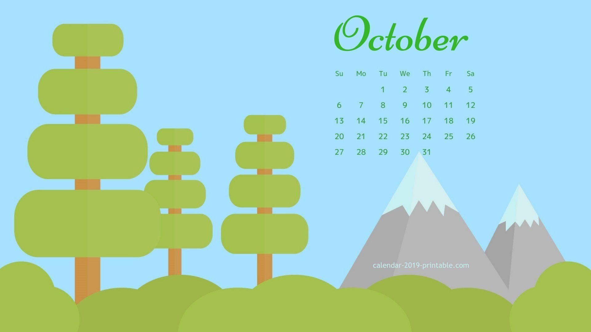 October 2019 Screensaver Background Calendar