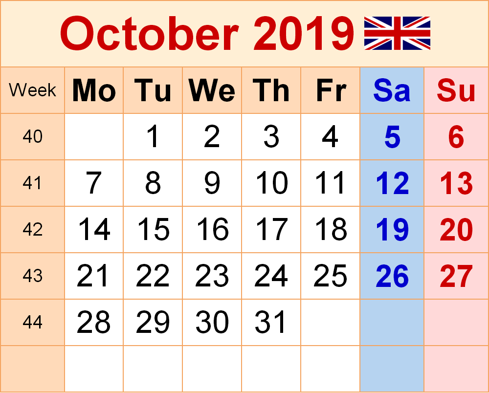 October 2019 UK Holidays Calendar