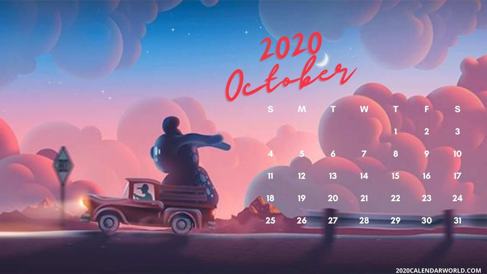 October 2020 Calendar Desktop Wallpaper