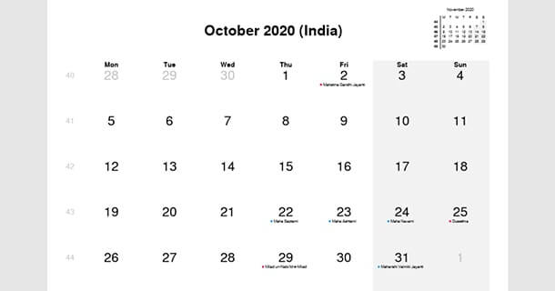 October 2020 Calendar with India Holidays