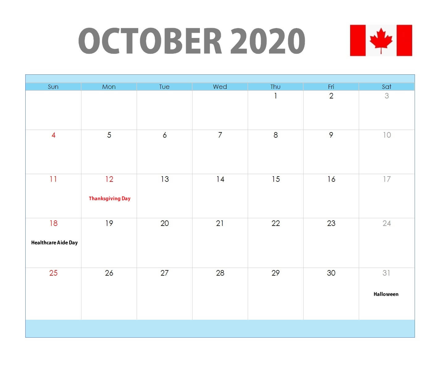 October 2020 Canada Holidays Calendar