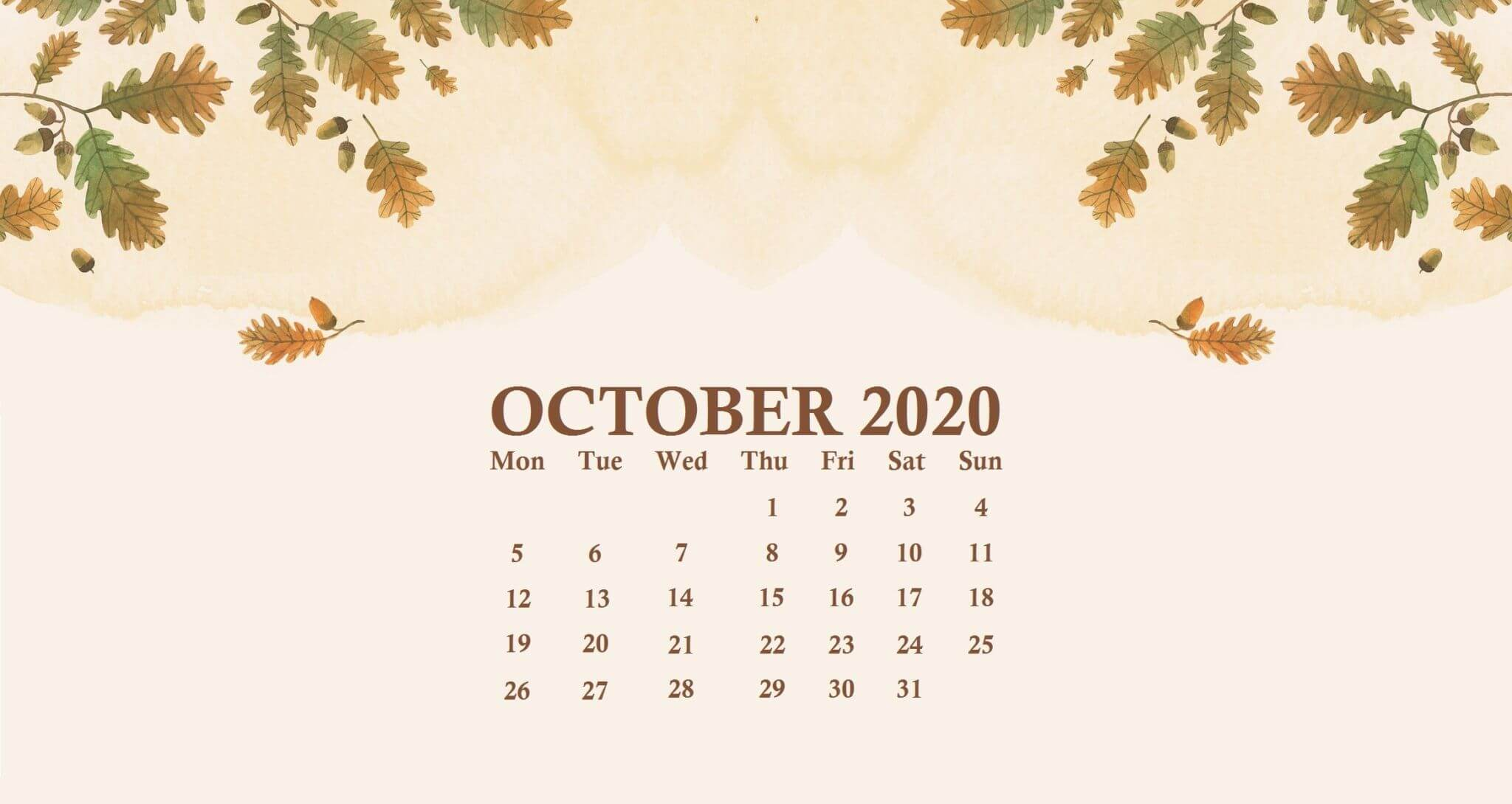 October 2020 Desktop Calendar Wallpaper