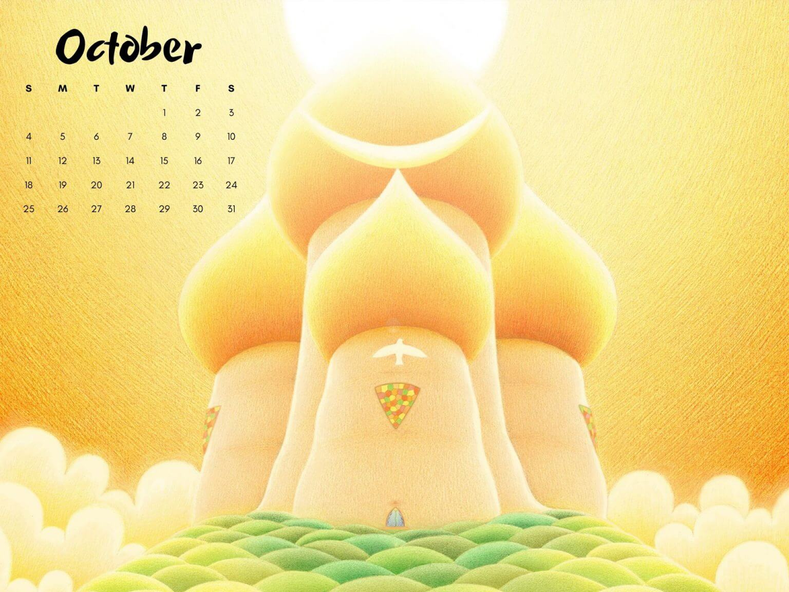 October 2020 Monthly Calendar Wallpaper
