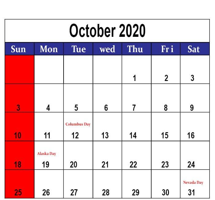 October 2020 South Africa Holidays Calendar