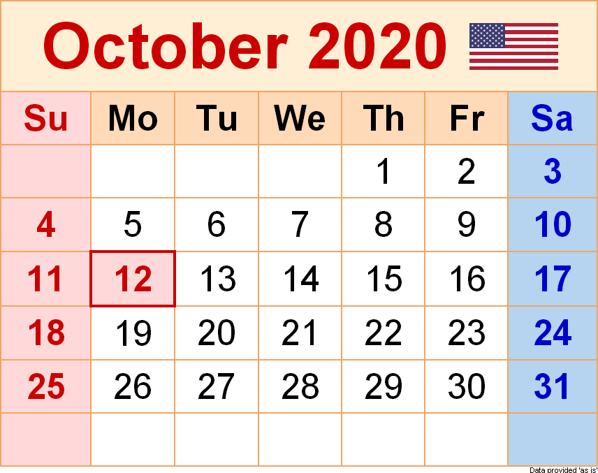 October 2020 USA Holidays Calendar