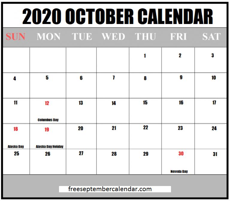 October Holidays Calendar 2020